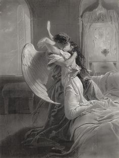"""Romantic Encounter"" (1864), Count Mihály von Zichy (1827-1906, Hungarian), Mixed Media: pencil, brush and ink. Russia. Hungarian National Gallery, Hungary. #angels"