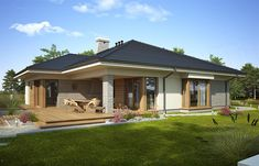 Projekt domu Fabia IX - koszt budowy - EXTRADOM -->> Go to link in description! Model House Plan, My House Plans, Bungalow Floor Plans, Log Cabin Plans, Wood Architecture, One Story Homes, Story House, Modern House Design, Future House