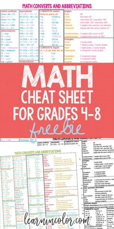 Math Cheat Sheet: Free Homeschool Math Resource for Grades For everyone who struggles with math, here is a Math Cheat Sheet! It functions as a student handout, an addition to a school binder, or a free homeschool math reference sheet to complement a ho Math Reference Sheet, Math Cheat Sheet, Cheat Sheets, Homeschool Math Curriculum, Online Homeschooling, Math Education, History Education, Special Education, Handout