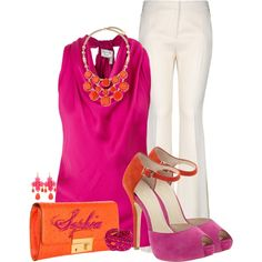 Hot Pink and Orange Color Block Heels by sophie-01 on Polyvore