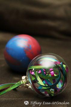 DIY paint and ribbon ornaments