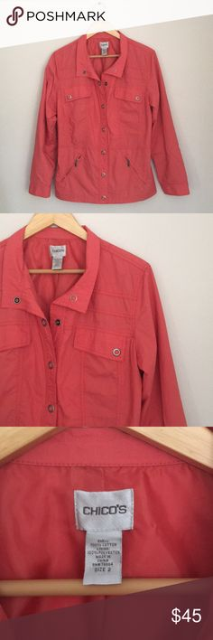Chico's Coral Cotton Utility Jacket Size 2 Beautiful lightweight Coral utility jacket in 100% cotton by Chico's. Size 2. Excellent preowned condition. Chico's Jackets & Coats Utility Jackets