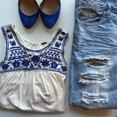 Poof Blue & Creme Embroidered Sleeveless Top #1432 Good pre-owned condition but has a small spot on top - see photo Poof! Tops