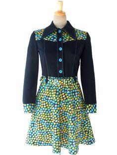 ヨーロッパ古着 ロンドン買い付け 60年代製 ブラック X ターコイズブルー・イエロー・グリーン レトロ花柄 ワンピース 15BS315