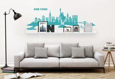 Wandtattoo New York Skyline inkl. Bilderleiste von wall-art.de