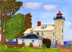 Winter Gallery - Artist Thelma Winter - Sodus Bay Lighthouse - Lake Ontario - Sodus Point NY (Powered by CubeCart) Lighthouse Art, Beacon Of Light, Winter Art, Art And Architecture, Ontario, North America, Around The Worlds, Wall Art, Lighthouses