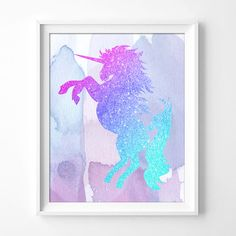 ♥ Pink Purple Blue Unicorn print Print ♥ Welcome to Nulook Design Studio! Your shop for customised artwork. This beautiful silhouette Pink Purple Blue Unicorn print on watercolour background will add a lovely touch to your little girls room or to be us Unicorn Room Decor, Unicorn Rooms, Unicorn Bedroom, Purple Bedrooms, Blue Rooms, Blue Bedroom, Master Bedroom, Trendy Bedroom, Bedroom For Girls Kids