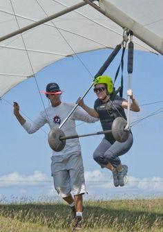 Tandem hang gliding.