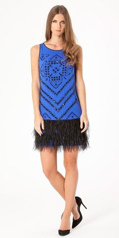 dd35e6e8fb Blue Beaded Silk Feather Cocktail Dress. Dress For Short Women