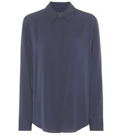 Crafted from lightweight silk, The Row's Petah shirt is a relaxed, curved-hem silhouette, perfect for off-duty days or casual office wear. The button placket is hidden to emphasise the streamlined appearance. Keep the look simple . Satin Top, Silk Satin, Casual Office Wear, Leopard Jacket, Leopard Print Top, How To Wear, Shirts, Neutral, Silhouette