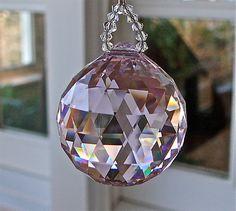 "Swarovski Crystal Suncatcher - 9"" Simplicity Pink, Pink 30mm Swarovski Crystal Ball, Swarovski Crystal Beads. $30.00, via Etsy."