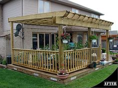with railing installed in from edge of deck a small sitting area is created on the other side...