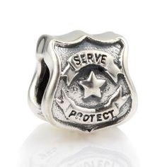 Everbling Protect Serve Police Officer Badge Authentic 925 Sterling Silver Charm Fits Pandora Chamilia Biagi Troll Beads Europen Style Bracelets everbling jewelry http://www.amazon.com/dp/B009L3XB1C/ref=cm_sw_r_pi_dp_zNg2tb1H429K2SB3