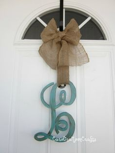 Single Letter Monogram Wooden Door Decor - 12 inch by CarolinaMoonCrafts