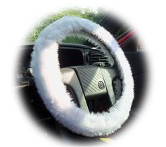 Pretty Fuzzy white faux fur car steering wheel cover furry and...