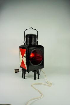 Big heavy Oil and electric rail lamp, Vintage Railroad Lantern Railway Lamp Style Antique,Lamp Red and White, old Railroad train lamp German Wooden Sewing Box, Vintage Sewing Box, Electrical Installation, Sewing Baskets, Antique Lamps, Craft Box, Lantern, Red And White, Parol