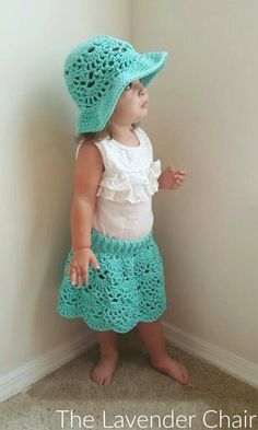 This Lacy Shells Skirt is super cute! Get the FREE crochet pattern for both the hat and the skirt right here on The Lavender Chair