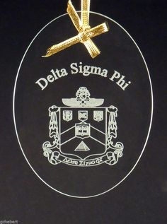 Delta Sigma Phi, ΔΣΦ, Beveled Oval Crystal Ornament/Sun Catcher #McCartney