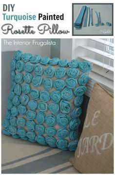 How to make a Turquoise painted Rosette Pillow from a drop cloth|The Interior Frugalista
