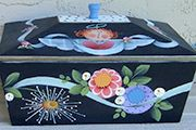 #960 - Franca's Box Tole Decorative Paintings, Tole Painting Patterns, Painted Boxes, Hand Painted, Crafts To Make, Arts And Crafts, Arte Country, Country Paintings, Naive Art