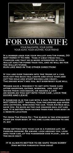 Great & possibly life saving safety tips for your wife, daughter, sister, friend…males too for that matter. Survival Life Hacks, Survival Tips, Survival Skills, Survival Supplies, Survival Quotes, Outdoor Survival, Simple Life Hacks, Useful Life Hacks, Life Hacks For Girls