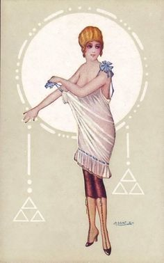 Early Art Deco pin-up postcard