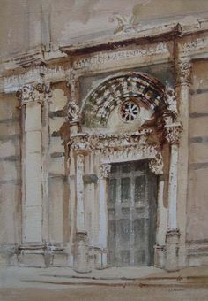 Cathedral St Martino  Watercolour : 44 x 31 cm Signed