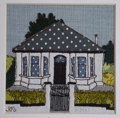 Commission me Bespoke Home Portrait in a by RoslynMitchellDesign Freehand Machine Embroidery, Sewing Machine Embroidery, Free Motion Embroidery, Embroidery Applique, Embroidery Patterns, Sewing Art, Sewing Crafts, Sewing Projects, House Quilts