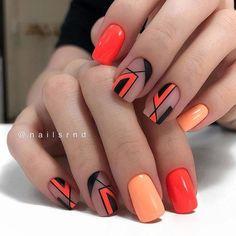 Nail Design Stiletto, Nail Design Glitter, Nails Design, Classy Nails, Cute Nails, Pretty Nails, Orange Nail Art, Orange Nails, Nail Art Designs Videos