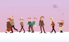 "Weasley Winter by ~HumorlessPoppycock on deviantART. I thought, ""Wait, there's one missing!"" And then I saw the dragon. :)"