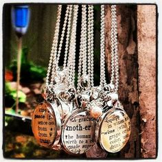 Personalized Vintage Dictionary Pendants from @Kashoan Ward.  Pick your own word.  Scripture, maps and letters available too.  Love this.