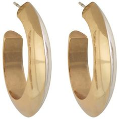 House of Harlow 1960 Caral Culture Two Tone Hoop Earring ($45) ❤ liked on Polyvore featuring jewelry, earrings, accessories, acessorios, house of harlow 1960, two tone jewelry, gold and silver earrings, earrings jewelry and house of harlow 1960 jewelry