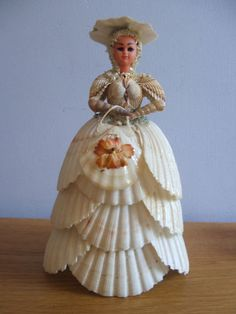 CRINOLINE LADY SEASHELL DOLL made entirely out of SHELLS