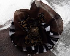 Vintage hair clip with zebra print fabric