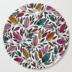Floral Illustration - Leaf - Cutting Board by maryzoles Fabric Painting, Fabric Art, Stone Painting, Painting On Wood, Painted Ceramic Plates, Rose Stencil, Mandala Art Lesson, Plate Art, Hand Art