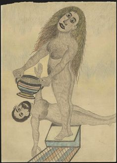 UNTITLED/ Albino Braz (1893, Italy–1950, Brazil), c. 1934–1950, Juqueri Psychiatric Hospital, São Paulo, Brazil, pencil and colored pencil on paper, 12 5/8 x 9 in., Collection de l'Art Brut, Lausanne, Switzerland, cab-A533. Photo credits: © Collection de l'Art Brut, Lausanne. Photo by Amélie Blanc, Atelier de numérisation—Ville de Lausanne
