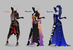 Outfit design - Months - 4 - closed by LotusLumino on DeviantArt Dress Drawing, Drawing Clothes, Fashion Design Drawings, Fashion Sketches, Anime Outfits, Cool Outfits, Character Design Cartoon, Clothing Sketches, Anime Dress