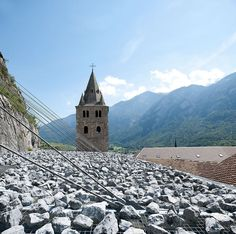 Coverage of archaeological ruins of the Abbey of St-Maurice, Saint-Maurice, Switzerland - savioz fabrizzi architectes #stone