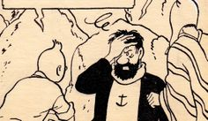 Line art by Hergé, from Tintin in Tibet