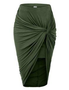 Wrap yourself in this super sexy asymmetrical banded waist wrap cut out hi low maxi skirt. Wear this super comfortable skirt to the beach as a swimsuit cover up and go for drinks at night with some se Long Green Skirt, Green Maxi, Hi Low Skirts, Long Skirts, Wrap Skirts, Maxi Skirts, Stretch Skirts, Denim Skirts, Draped Skirt