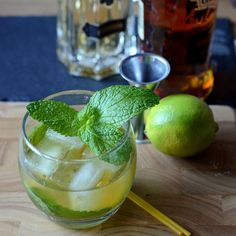 Spiced St. Germain Punch // 2 lime wedges /  4 mint leaves /  1 tsp sugar /  2 oz spiced rum (rec. Bacardi Oakheart) /  1 oz St. Germain // In a glass, muddle lime, mint and sugar. / Top with spiced rum, St Germain and ice and stir to combine.