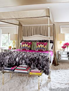 Glamorous Bedroom Martyn Lawrence Bullard's canopied Jaiper bed in the master bedroom of a Beverly Hills, California home, was inspired by a bed that belonged to Babe Paley. His Adras Ikat Print pillows add a revved-up mix of the house's pink, blue, and yellow palette.