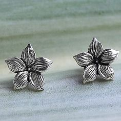 Sterling silver stud earrings, 'Jasmine Blossoms' - Sterling Silver Stud Earrings Floral Shape from Thailand Silver Nose Ring, Sterling Silver Earrings Studs, Stud Earrings, Tiffany Jewelry, Jewelry For Her, Jewelry Packaging, Jewelry Supplies, Jasmine, Blossoms
