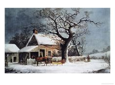 Country Cabin in an American Winter Scene Giclee Print by Currier