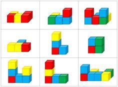 Math 4eme, Logic Math, Maths Puzzles, Educational Activities For Kids, Classroom Activities, Preschool Activities, Kids Learning, Cube Pattern, Pattern Blocks