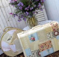 vintage suitcases mod podge.  I have a round one this would be perfect for!