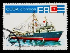 CUBA - CIRCA 1978: A stamp printed in Cuba shows a Cuban tuna fishing trawler, circa 1978. photo