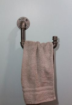 Industrial iron or galvanized pipe Hand Towel holder by PicklePumpkinPatch on Etsy https://www.etsy.com/listing/211781521/industrial-iron-or-galvanized-pipe-hand