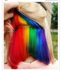 This is so cool! Rainbow undercolor hair style!