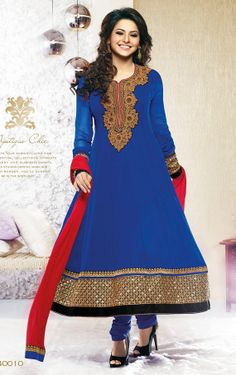 Bollywood Indian Pakistani Blue and Red Long Anarkali by Pinkshink, $99.00